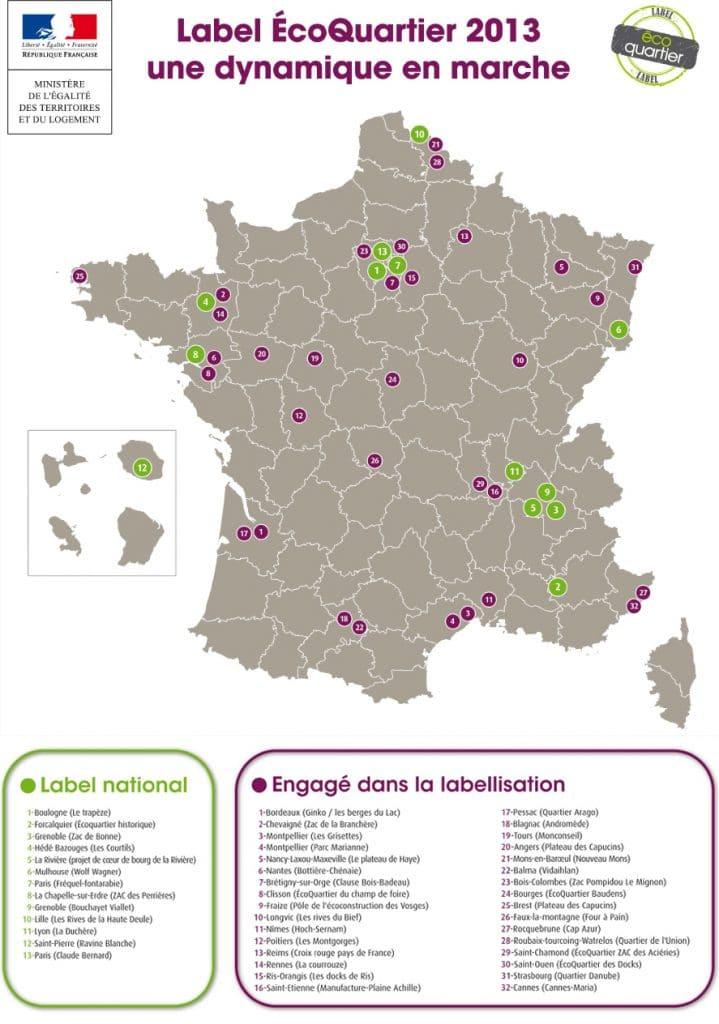 Carte des écoquartiers en France (2013)