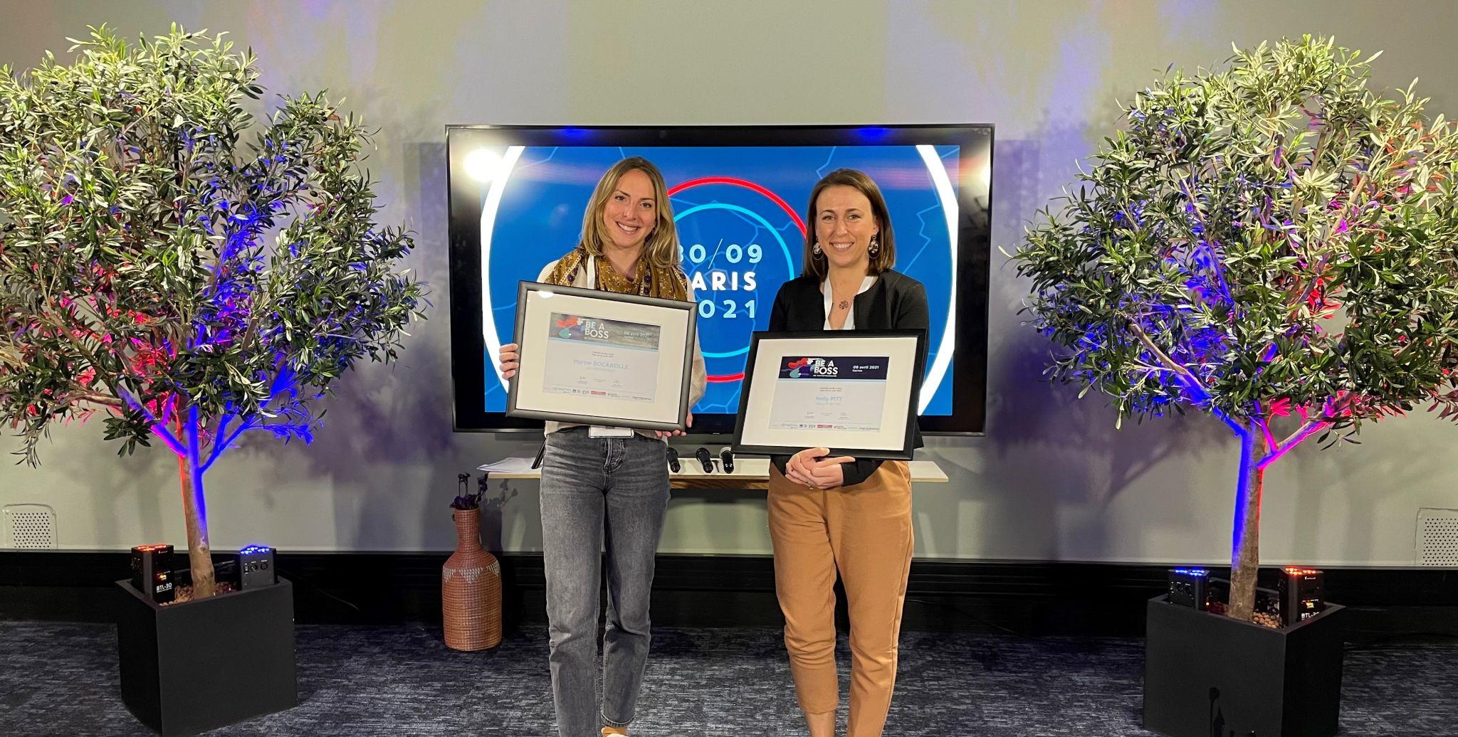 Les finalistes,Marine Bocabeille, co-fondatrice des Mini Mondeset àNelly Pitt, fondatrice deBeautyMix.
